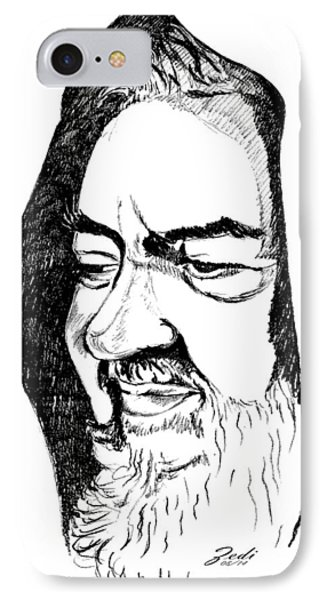 IPhone Case featuring the drawing Portrait Of Padre Pio by Ze  Di