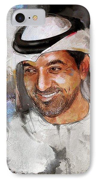 Portrait Of Sheikh Ahmed Bin Saeed Al Maktoum 2 IPhone Case by Maryam Mughal