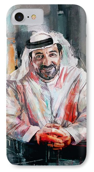 Portrait Of Sheikh Ahmed Bin Saeed Al Maktoum  IPhone Case by Maryam Mughal