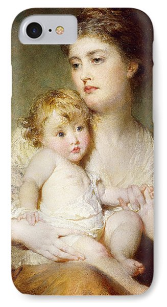 Portrait Of The Duchess Of St Albans With Her Son IPhone Case by George Elgar Hicks