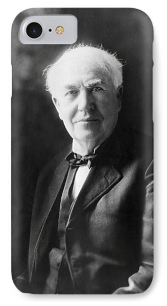 Portrait Of Thomas Edison IPhone Case by Underwood Archives