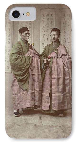 Portrait Of Two Chinese Buddhist Monks With Rosary IPhone Case by Artokoloro