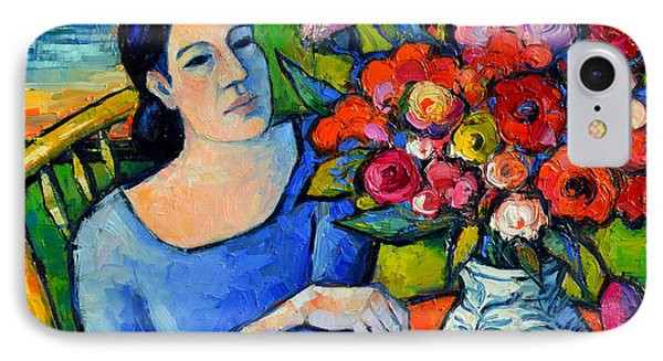 Portrait Of Woman With Flowers IPhone Case