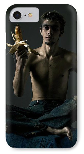 Portrait Of Young Man With Corn Cob Phone Case by Evgeniy Lankin