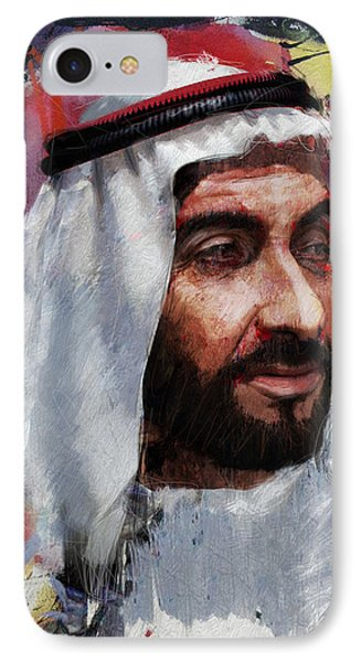 Portrait Of Zayed Bin Sultan Al Nahyan IPhone Case by Maryam Mughal