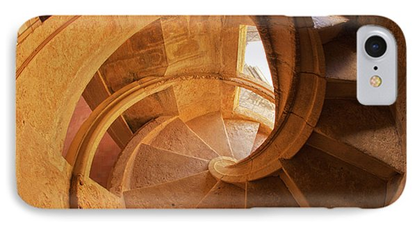 Portugal, Tomar, Spiral Stone Staircase IPhone Case by Terry Eggers