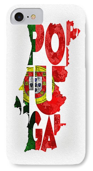 Portugal Typographic Map Flag IPhone Case by Ayse Deniz