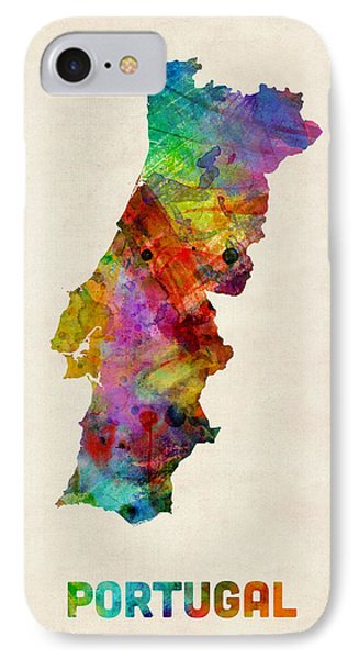 Portugal Watercolor Map IPhone Case by Michael Tompsett