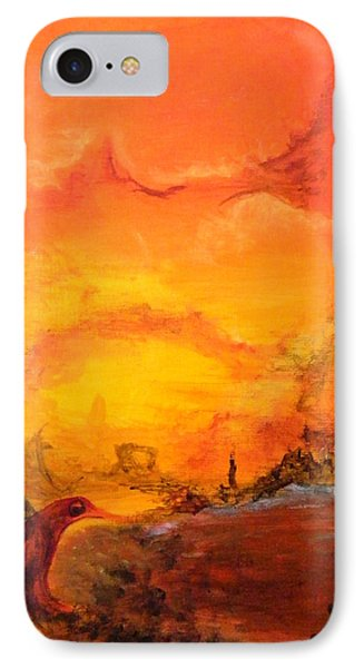 IPhone Case featuring the painting Post Nuclear Watering Hole by Christophe Ennis