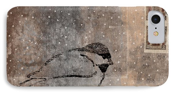 Postcard Chickadee In The Snow IPhone Case by Carol Leigh