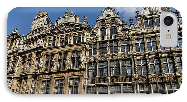 IPhone Case featuring the photograph Postcard From Brussels - Grand Place Elegant Facades by Georgia Mizuleva