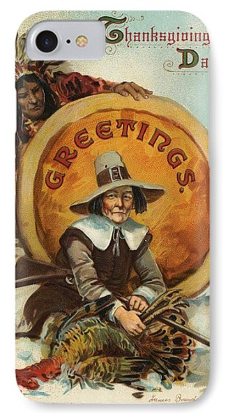 Postcard Of Pilgrim Plucking A Turkey IPhone Case by American School