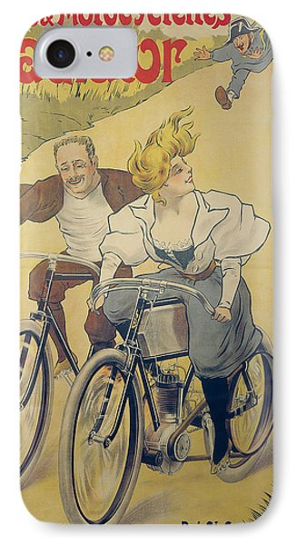Poster Advertising Gladiator Bicycles And Motorcycles IPhone Case by Ferdinand Misti-Mifliez