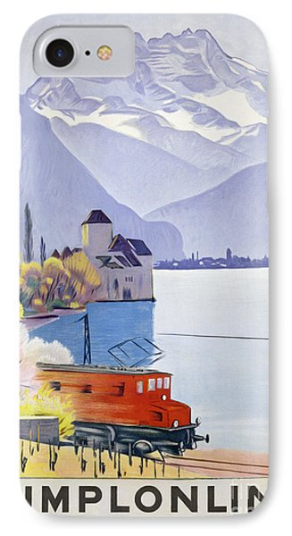 Poster Advertising Rail Travel Around Lake Geneva IPhone Case by Emil Cardinaux