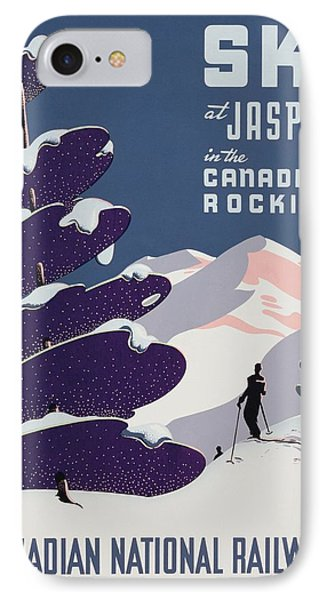 Poster Advertising The Canadian Ski Resort Jasper IPhone Case by Canadian School