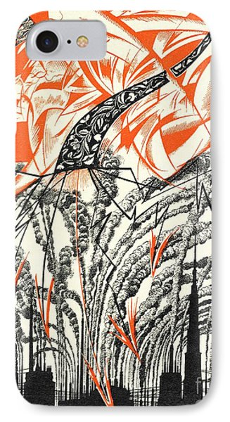 Poster With A Personification Of Pollution IPhone Case by Sergei Vasilevich Chekhonin