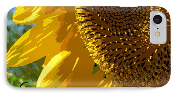 Posterized Sunflower IPhone Case by Heidi Manly