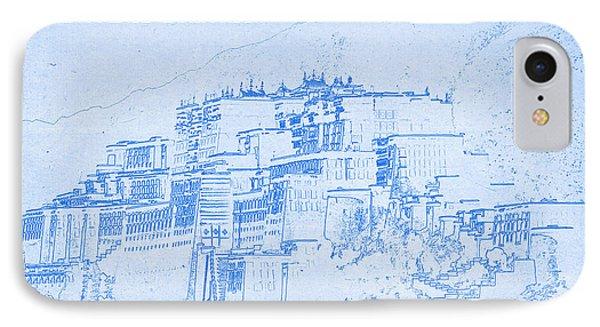 Potala Palace  Lhasa Tibet  - Blueprint Drawing IPhone Case by MotionAge Designs
