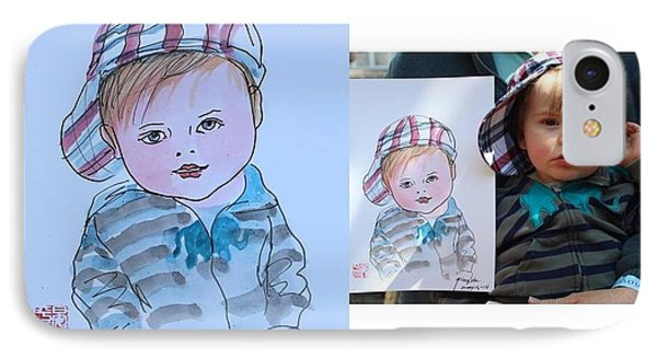 IPhone Case featuring the painting Potrait Sketch by Ping Yan