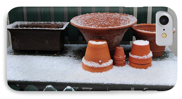 IPhone Case featuring the photograph Potting Bench In Snow 11 by Vinnie Oakes