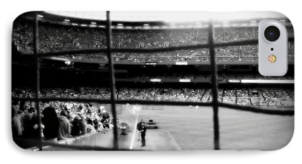 IPhone Case featuring the photograph Pov Right Field Foul Pole Original Yankee Stadium In Black And White by Aurelio Zucco