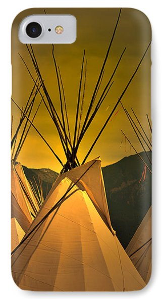 Pow Wow Camp At Sunrise IPhone Case by Kae Cheatham