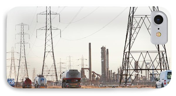 Power Lines To A Petrochemical Plant IPhone Case