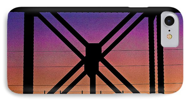 Powerlines And Girders At Sunset IPhone Case by Robert FERD Frank