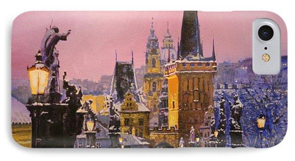Prague Charles Bridge  Winter Evening IPhone Case by Yuriy Shevchuk