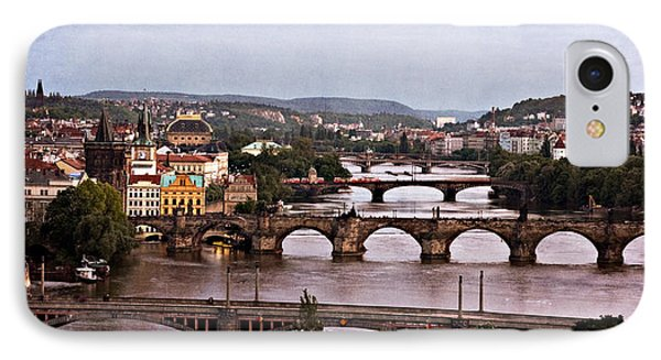 Prague Cityscape - Texture IPhone Case by Barry O Carroll