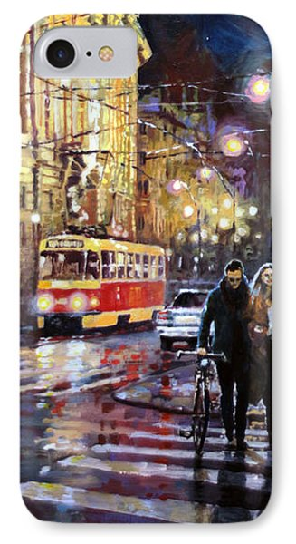 Prague Masarykovo Nabrezi Evening Walk IPhone Case by Yuriy Shevchuk