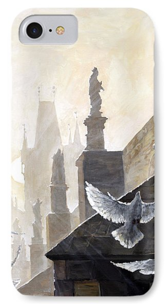 Prague Morning On The Charles Bridge  IPhone Case by Yuriy Shevchuk