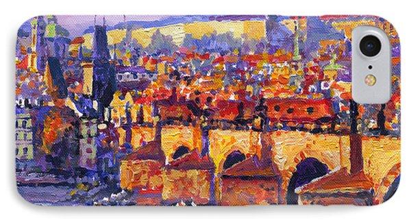Prague Panorama Charles Bridge 06 IPhone Case by Yuriy Shevchuk
