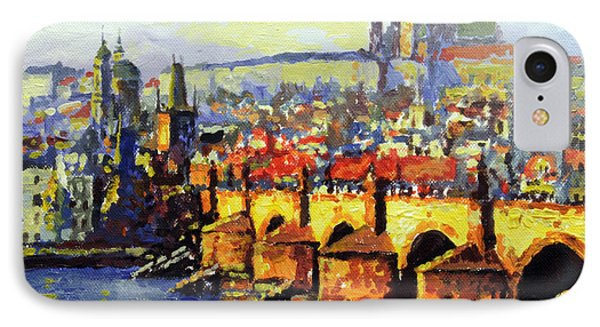 Prague Panorama Charles Bridge IPhone Case by Yuriy Shevchuk