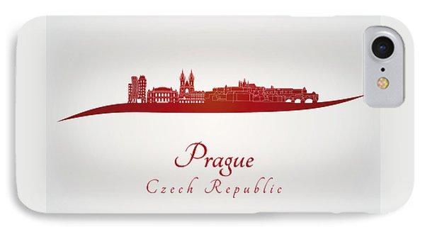 Prague Skyline In Red IPhone Case by Pablo Romero