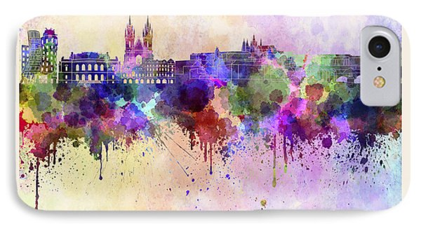 Prague Skyline In Watercolor Background IPhone Case by Pablo Romero