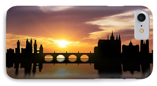 Prague Sunset Skyline  IPhone Case by Aged Pixel