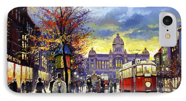Prague Vaclav Square Old Tram Imitation By Cortez IPhone Case by Yuriy  Shevchuk