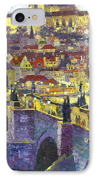 Prague Violet Panorama Night Light Charles Bridge Phone Case by Yuriy Shevchuk