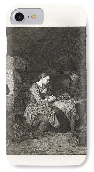 Prayer Before Meals, Bega Friedrich Wilhelm Burmeister IPhone Case by Friedrich Wilhelm Burmeister