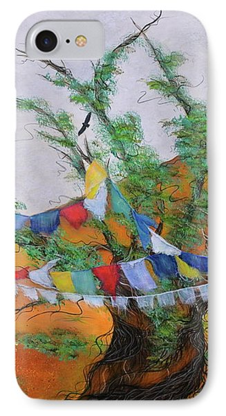 IPhone Case featuring the painting Prayer Flags by Deborha Kerr