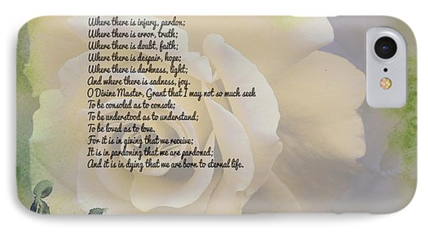 Prayer Of St. Francis And Yellow Rose IPhone Case by Barbara Griffin