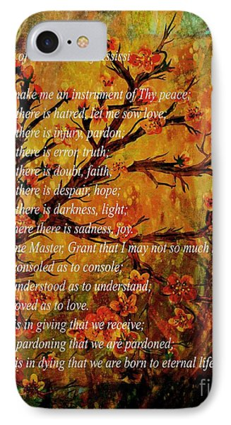 Prayer Of St. Francis Of Assisi  And Cherry Blossoms IPhone Case by Barbara Griffin