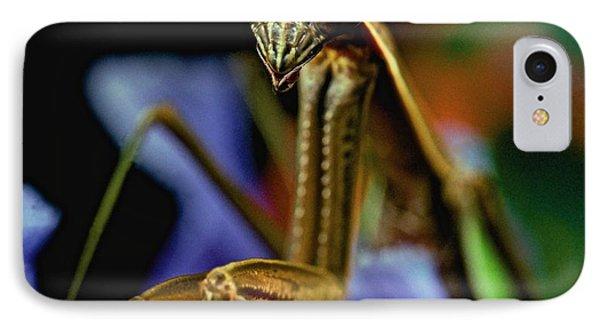 Praying Mantis  Closeup Portrait 3  On Iris Flower Phone Case by Leslie Crotty