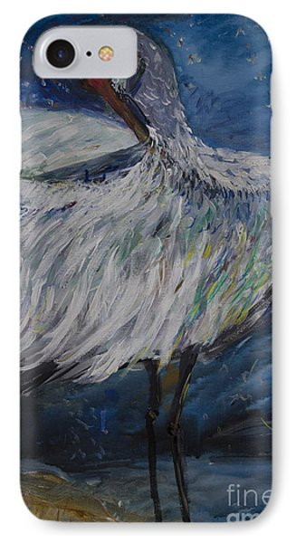 IPhone Case featuring the painting Preening Crane by Avonelle Kelsey