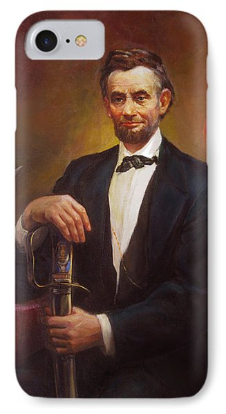IPhone Case featuring the painting President Abraham Lincoln by Svitozar Nenyuk