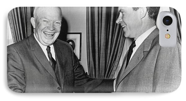 President Eisenhower And Nixon IPhone Case by Underwood Archives
