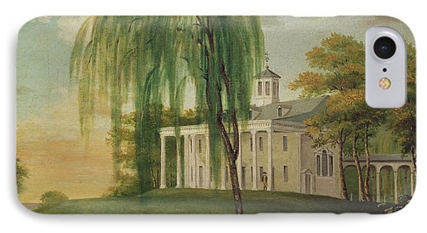 President George Washington 1732-99 On The Porch Of His House At Mount Vernon Oil On Canvas IPhone Case by American School
