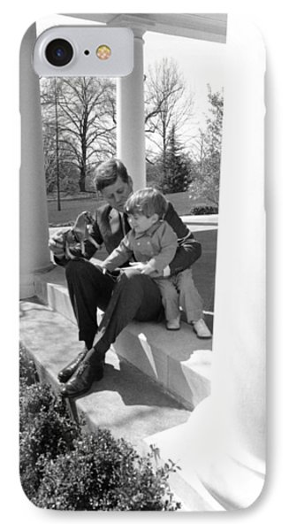 President Kennedy And John-john IPhone Case by Underwood Archives