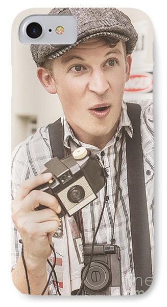 Press Photographer With Great Exposure IPhone Case by Jorgo Photography - Wall Art Gallery
